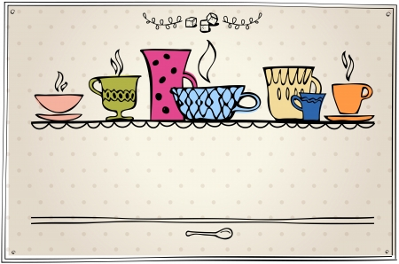 cup of tea or coffee  retro style  eps10 Vector