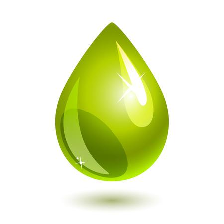 green oil drop on white