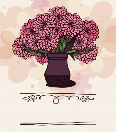 vase with chrysanthemum on holiday background Vector