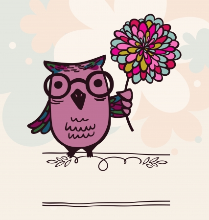 intelligent owl with flower Illustration