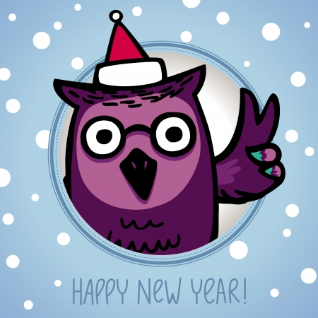 owl in Santa Claus Hat  Retro style Vector