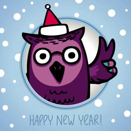 owl in Santa Claus Hat  Retro style Stock Vector - 23643909