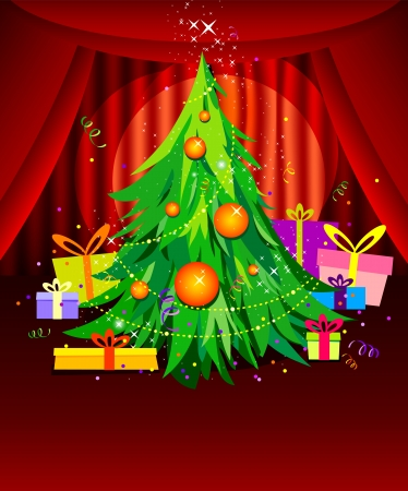 christmas tree illustration: background with Christmas tree and gifts