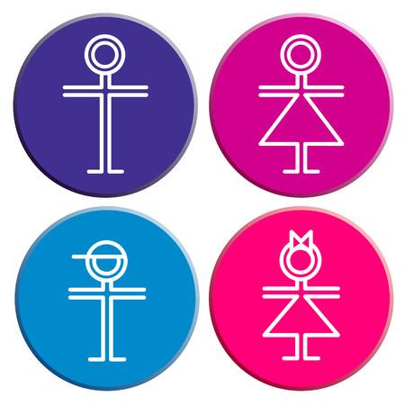 se�oras: WC Signo de hombre, mujer, ni�o, ni�a Vectores