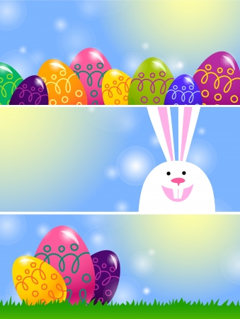 set of Easter banners with bunny and Easter eggs Vector
