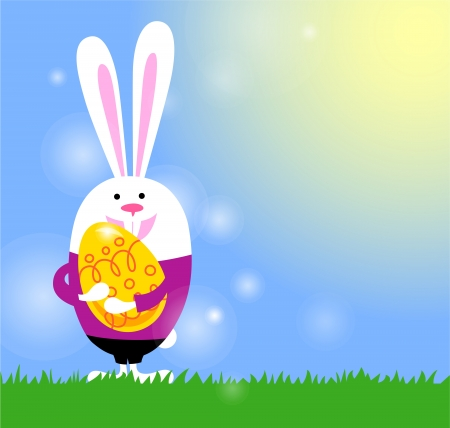 Easter background with bunny and Easter egg    Vector