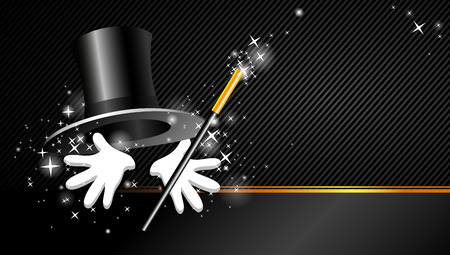 magical presentation with top hat, magic wand and hand Vector
