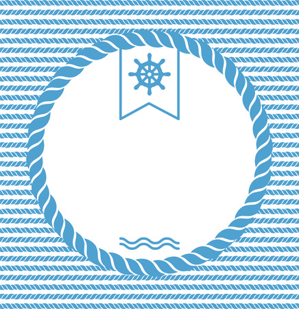ship wheel: blue and white marine background with ropes and steering wheel