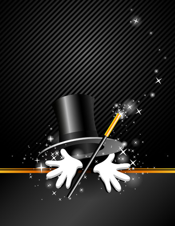 magical presentation with top hat, magic wand and hand Ilustração