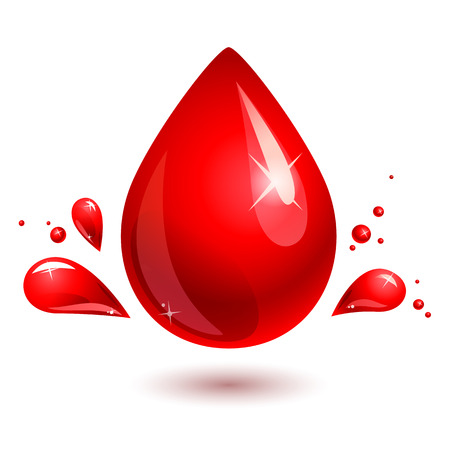 tear drop: red drop on white background Illustration