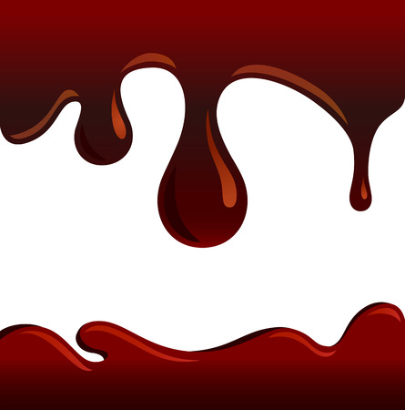 sweet sauce: Flowing brown syrup  chocolate drops  Illustration