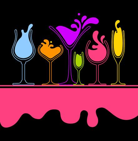 set of splash wine, champagne and cocktail glass   Illustration