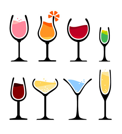 set of wine, champagne and cocktail glass   Illustration