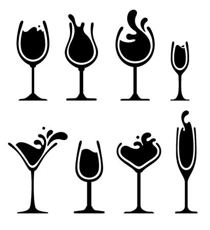 set of black and white splashing wine on glass Vector
