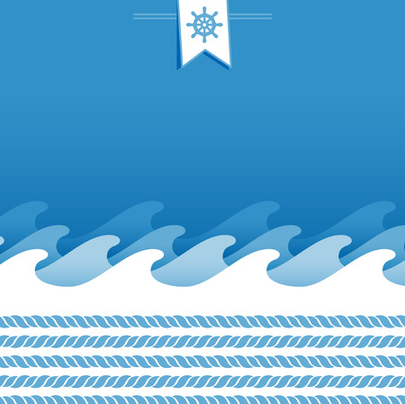 blue and white marine background with ropes and sea wave Vector