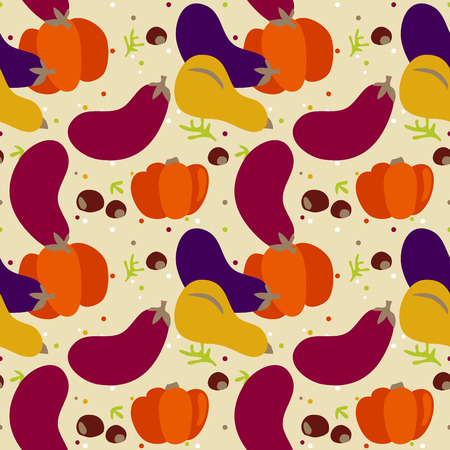 seamless pattern of autumn vegetable. Harvest background and Thanks giving dinner Vector