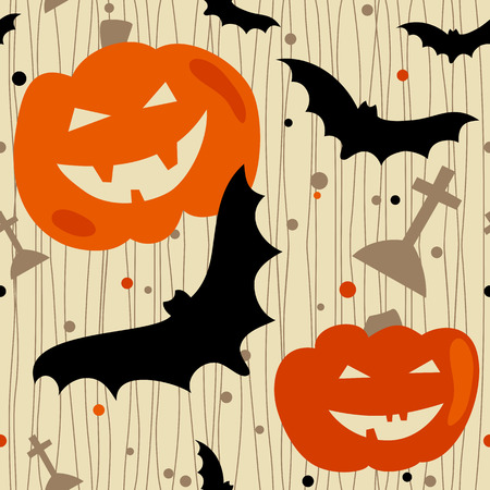 Halloween seamless pattern with bat, pumpkin and tombstone.  Vector