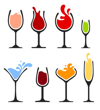 vasos de agua: colecci�n de vinos, champanes y copa de c�ctel. eps8 Vectores