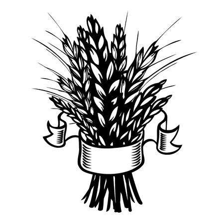sheaf of wheat or rye on white.