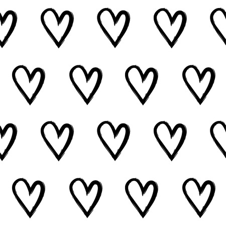 Abstract seamless pattern with hand draw hearts. Black and white