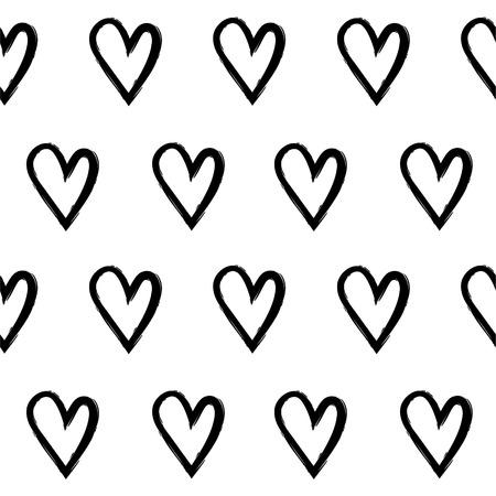 手で抽象的なシームレス パターンはハーツを描画します。黒と白