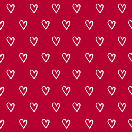 fourteen: Abstract seamless pattern with hand draw hearts. Red and white