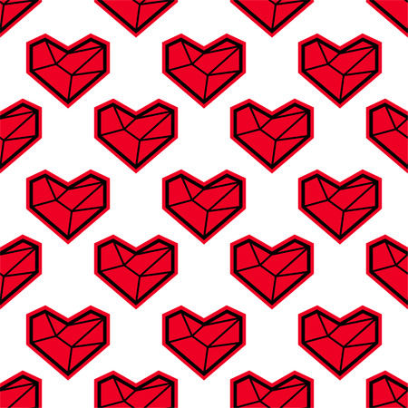 edge design: Abstract seamless pattern with red heart. Geometry polygonal style. Eps10
