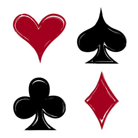 Playing card suits, icon, symbol set hand drawing. JPG include isolated path