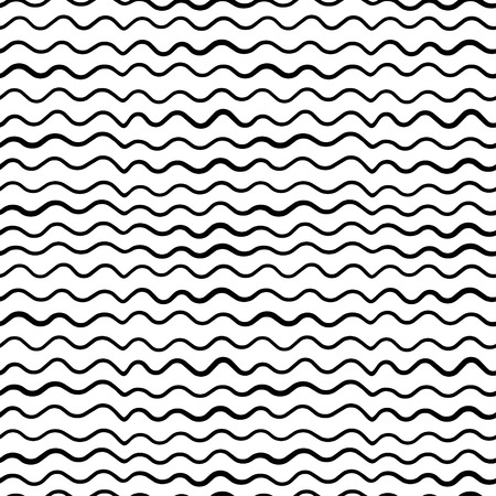 ocean wave: Abstract hand draw seamless wave patterns with lines. Black stripes on white background Illustration