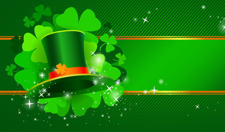 Green St. Patricks day background with hat and clover