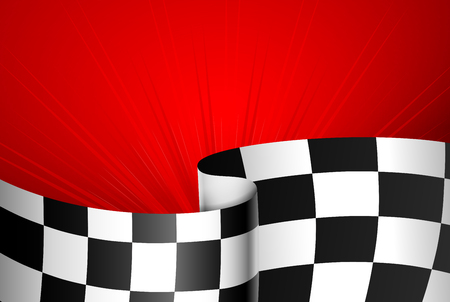 checker flag: Red racing background, sport banner. Checker flag Illustration