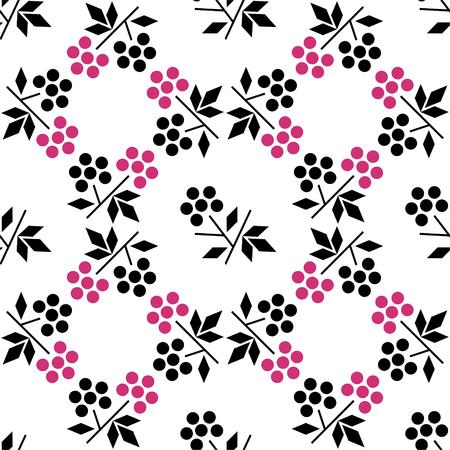 ラズベリーとのシームレスなパターン。ミニマリズムと北欧スタイル。包装紙、繊維用背景デザイン。eps 10