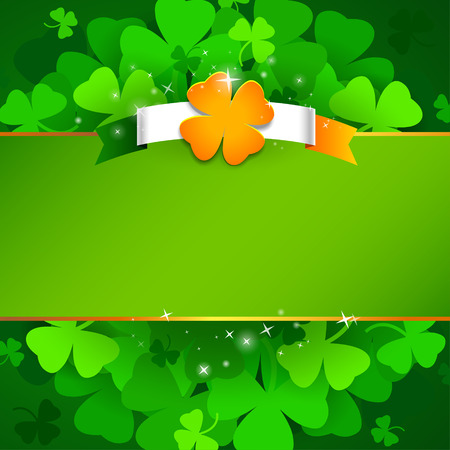 Green St. Patricks day background with ireland flag and clover