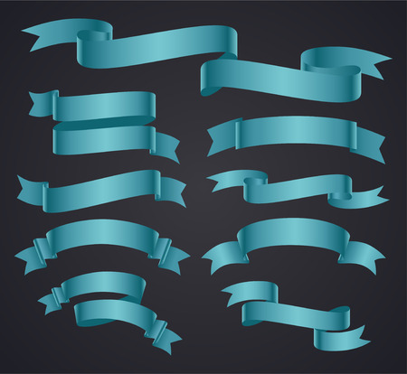 ribbon banner: Set of blue curved ribbon or banner. JPG include isolated path. eps10