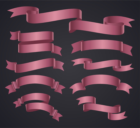 pink banner: Set of pink curved ribbon or banner. JPG include isolated path. eps10 Illustration