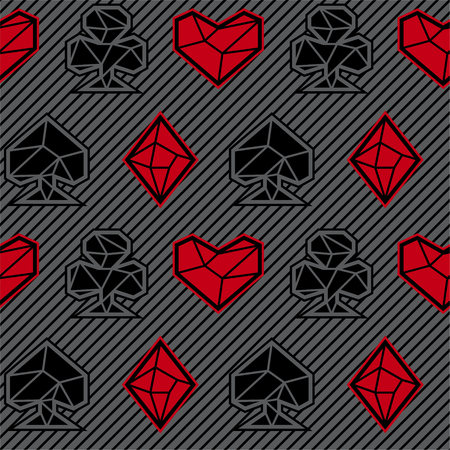 stroke of luck: Playing card suits, signs, seamless pattern. Gray background. Triangle style. Eps10