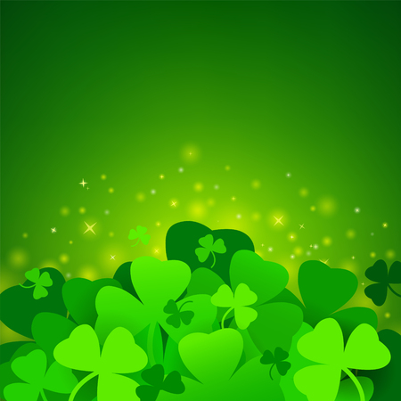 Green St. Patricks day background with clover Illustration