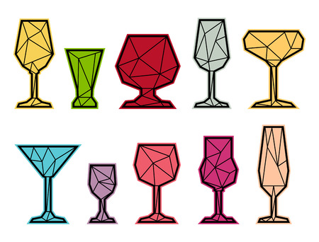 Set polygonal triangle icon of wine, champagne and cocktail glass. Low poly style. Color glasses drink.