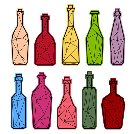 Set polygonal triangle alcogol bottles, champagne and wine. Low poly or geometry style. Illustration