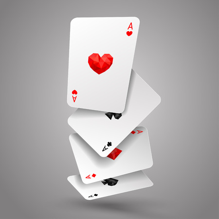 Set of four ace playing cards fly or falling. Winning poker hand. JPG include isolated path. Illustration