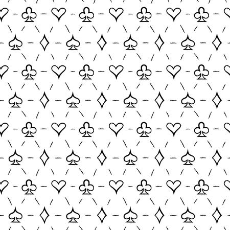 Playing card suits, signs, seamless pattern background Illustration