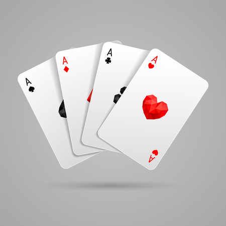 Set of four ace playing cards suits. Wnning poker hand. JPG include isolated path. Illustration