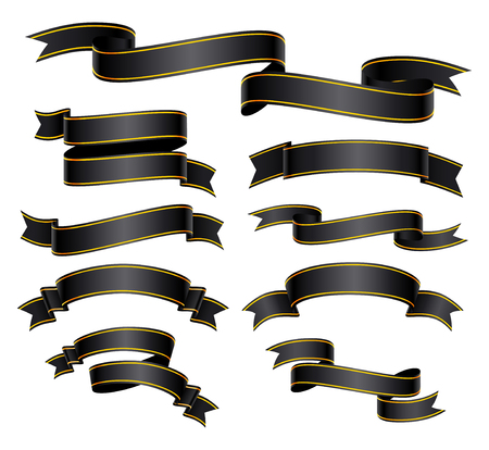 Set of black curved ribbon or banner with a gold border. JPG include isolated path. Illustration