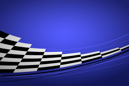 Blue racing background, sport banner. Checker flag.
