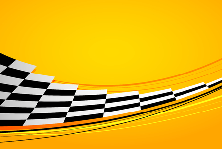 Yellow racing background, sport banner. Checker flag. Illustration