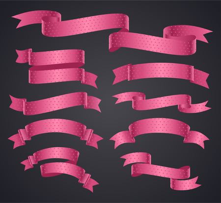 Set of pink curved ribbon or banner. JPG include isolated path.