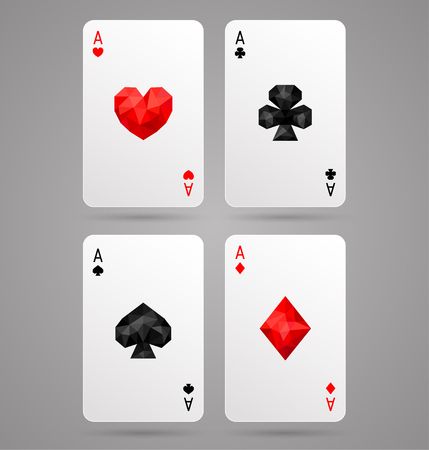 Set of four ace playing cards suits. Poker game. JPG include isolated path
