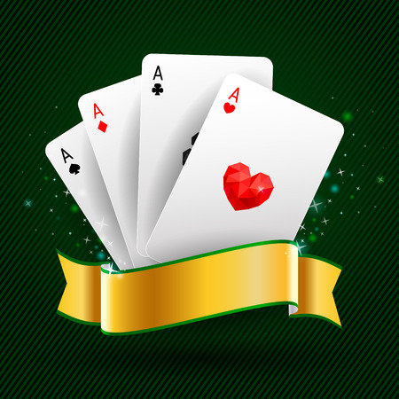 Set of four ace playing cards suits on green background with gold ribbon. Winning poker hand. Illustration