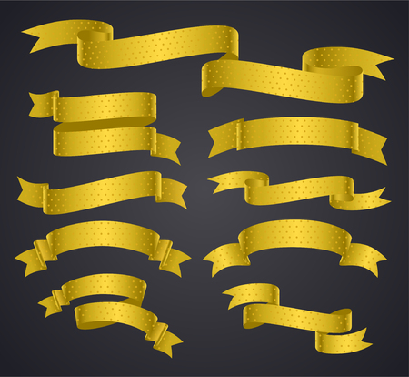 Set of yellow curved ribbon or banner with dots. JPG include isolated path