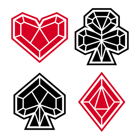 Playing card suits, icon, symbol set. Diamond style. JPG include isolated path